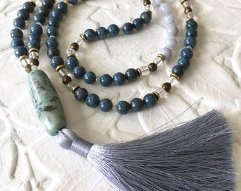 Ocean's Current 108 bead mala tassel necklace