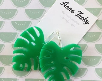 GIANT MONSTERA LEAF laser cut acrylic green  earrings studs tacky festival wear kitsch retro style