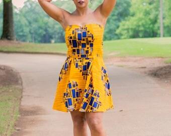 Ankara Sweetheart Mini Dress