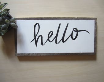 8X18 Welcome or Hello wood sign, barn wood frame, hand painted lettering, hand crafted.