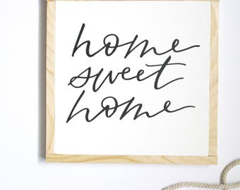 Home Sweet Home sign, wood sign, hand painted sign, home sweet home, square wood sign. 10x10