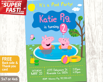 Peppa pig invitation peppa pig birthday invitation peppa peppa pig pool party invitation peppa pig invitation peppa pig birthday card peppa stopboris Image collections