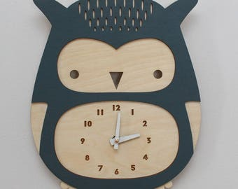 wooden owl clock, dusty blue • modern nursery decor • baby shower gift • woodland theme • laser cut • baby shower gift