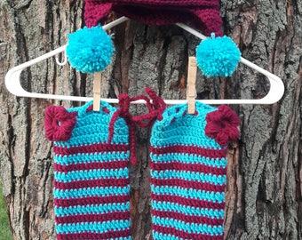 Leg warmer set with matching Cap
