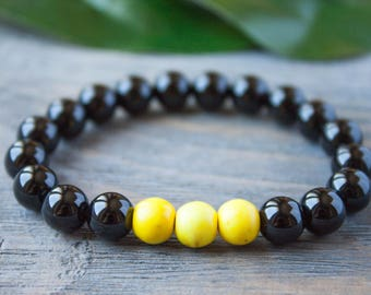 Black and Yellow Black Agate Yellow Beads Bracelet Summer Style Sunny Bracelet Colorful Bright Bracelet Sister Bracelet Lemon Bracelet