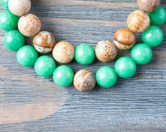 Couples Bracelets Long Distance Relationship Bracelets Mens Wood Beads Matching Bracelet Boyfriend Bracelet Light Green Bracelet Single Bead