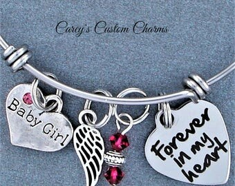 Baby Girl Memorial Keepsake Charm Bracelet, Swarovski Birthstone, Sympathy Gift, Forever In My Heart, Angel Wing, Loss Of Infant, For Mother