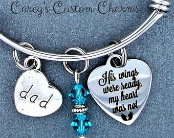His Wings Were Ready Memorial Keepsake Charm Bracelet, Swarovski Birthstone, Sympathy Jewelry Gift For Daughter, Loss of Dad / Daddy,  Grief
