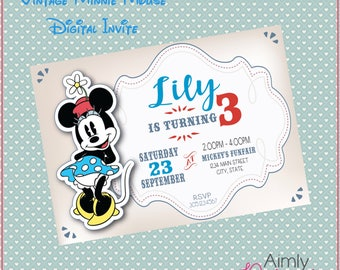 Vintage Minnie Mouse Invitation
