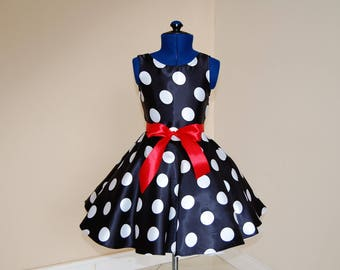 Black Polka Dot Dress  Girls Dress, Party Dress, Sunday, Dress, Special Occasion Dress, Spring/Summer Dress, Kids Dress