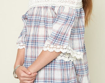 off the shoulder lace trim shirt