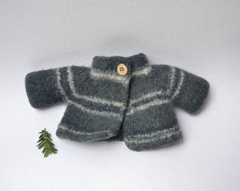 Jacket felted from 100% Merino wool Clothes for Waldorf doll Clothes for Steiner doll Waldorf doll cardigan Steiner doll cardigan knit felt