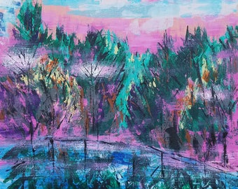 """Original acrylic painting titled """"A Magenta Summer Night on the Lake"""" is a 20"""" by 20"""" acrylic painting on gallery canvas."""