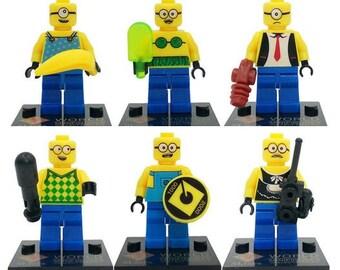Batch of 6 Lego figures the Minionsable customized