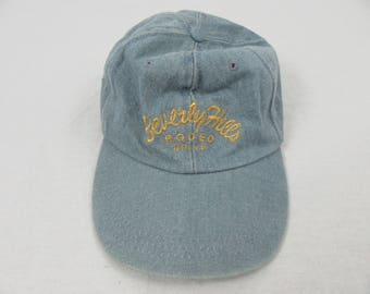 Vintage 90's Beverly Hills Rodeo Drive Denim jean Gold Thread Strap back Hat