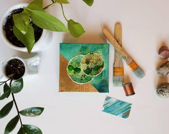 "Green + gold embroidered mixed media watercolor + acrylic painting // Nature Inspired expressionism on canvas //  ""Balance. 3"" // 6x6"