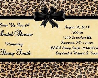 Leopard Bridal Shower Invitation, Digital file, Your Print, Wedding