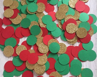 Christmas Confetti, Red and Green Confetti, Glitter Confetti, Holiday Confetti, Christmas Party Decor