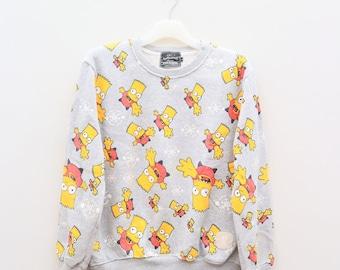 Vintage THE SIMPSONS Cartoon Anime Full Print Gray Sweater Sweatshirt Size L