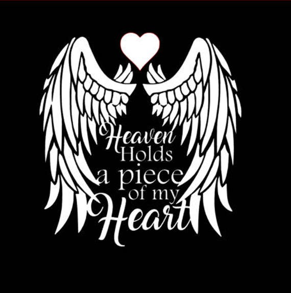 Memorial Decal, angel, Rip, Custom, Heaven, heart, choose size