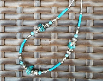Turquoise Nugget and silver plated strung bead necklace
