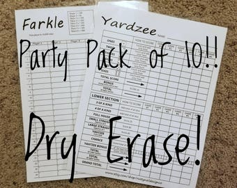 Yardzee, Yahtzee and Farkle Dry Erase Score Sheet, Erasable and Reusable - Laminated 8-1/2x11 Cardstock- Ultimate Party 10-pack with Markers