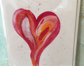 5 Greeting Cards, Hand Painted Original Artwork Cards, Cards, Blank Inside Cards, Valentine Cards, Valentines, Valentine Heart Cards