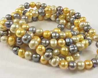 54 inch Hand Made 8-9 mm Potato Freshwater Pearl Necklaces Two Mixed Color Options, Genuine Cultured Pearl Long Necklaces (336-NKMIX54)
