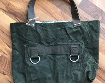 Vintage military canvas tote bag with leather straps