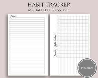 "Monthly Habit Tracker Printable Planner Inserts, Goal and Task Tracker Boxes, Habit Building Reminder ~ A5 / 5.5"" x 8.5"" Instant Download"