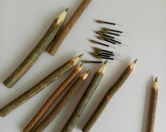 Twig Pen - 6/pack - Wooden Ballpoint Pen - 0.7 mm - Oil-based Black Ink