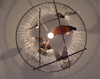 50 cm cage pendant light has birds colorful (made to order)