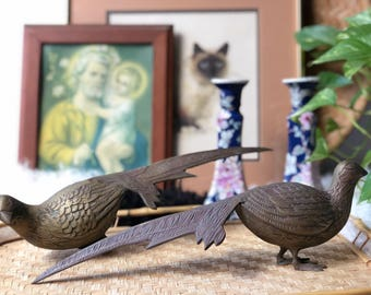 Brass Pheasants, Vintage Decor