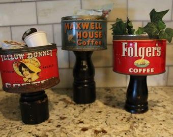 Vintage Coffee Can on Pedestal