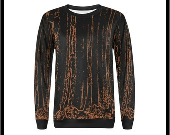 Bamboo Forest Fire Crew Neck Pullover Sweatshirt for Women