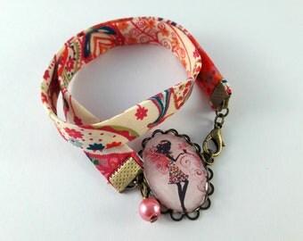 Bracelet double liberty motif fée rose et fleurs