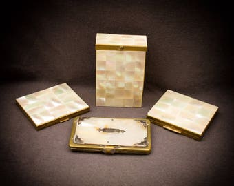 Set of 4 Mother of Pearl Items Cigarette Case, Compacts, and Card Holder/Wallet