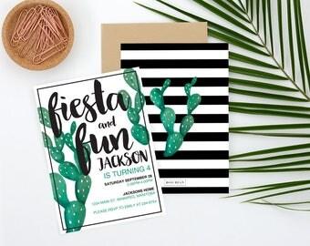 Fiesta Invitation, Fiesta Birthday, Fiesta Party, Mexican Birthday, Mexican Fiesta, Mexican Invitation, Cactus Invitation, Cinco de mayo