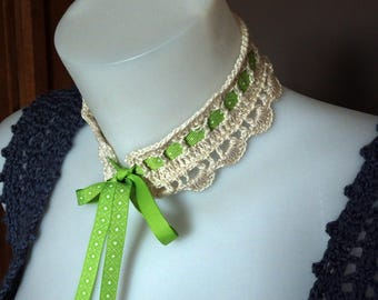 Bohemian and Romantic Crochet Collar, light green ribbon