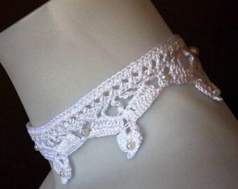 Crocheted wedding choker, cotton and beads