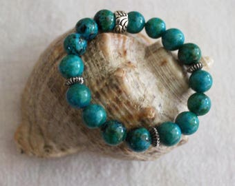 Stretch gemstone bracelet made of 10 mm beads of chrysocolla and metal beads, beaded blue semiprecious stone bracelet, gemstone bracelet
