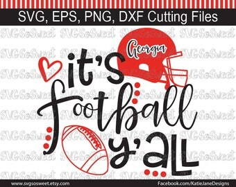 Georgia Bulldogs svg, Georgia svg, GA Football svg, It's Football Y'all, GA Bulldog svg, SVG, Png, Eps, Dxf, Silhouette Cutting Files