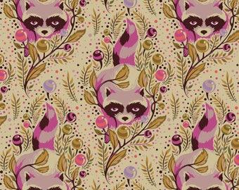 """Tula Pink Fabric. Acacia.  Racoons. Canyon. FQ (18"""" x 22')"""