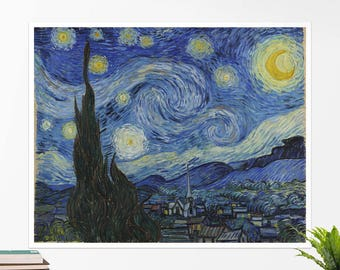 "Vincent Van Gogh, ""Starry Night"". Art poster, art print, rolled canvas, art canvas, wall art, wall decor"