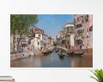 "Martín Rico, ""Rio San Trovaso, Venice"". Art poster, art print, rolled canvas, art canvas, wall art, wall decor"