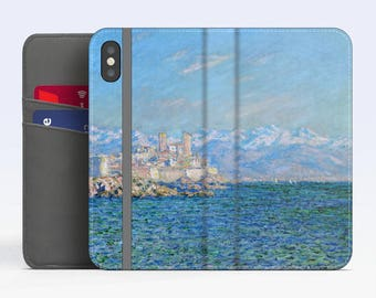 """Claude Monet, """"Antibes, Afternoon Effect"""". iPhone X Wallet case iPhone 8 Wallet case  iPhone 7 Plus Wallet case. Samsung Wallet cases."""