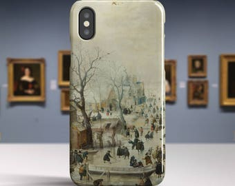 "Hendrick Avercamp, ""Winter Landscape with Skaters"". iPhone X Case Art iPhone 8 Case iPhone 7 Plus Case and more. iPhone X TOUGH cases."