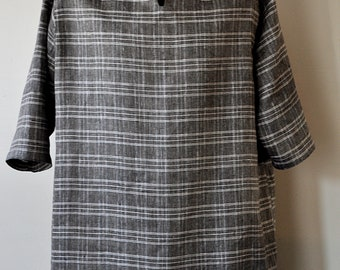 100% Linen Black and White Tunic