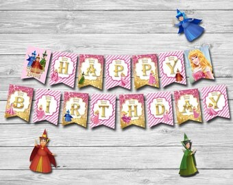 Princess Aurora Banner Party- INSTANT DOWNLOAD - Sleeping Beauty Banner - Happy Birthday Princess Disney's Sleeping Beauty | AU_BANNER