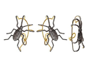 Cockroach Style Ear Cuff Earrings 14k gold 92.5 solid sterling silver pave setted diamond beautiful wedding women ear cuff earring jewelry